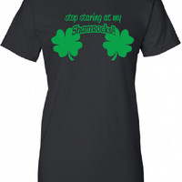 Stop Staring at my Shamrocks beer bar scotland saint st. Patrick's Paddy's ireland scottish T-Shirt Tee Shirt Ladies Womens mad labs ML-337g