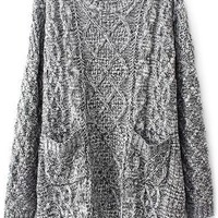 Grey Oversized Cable Knit Sweater - OASAP.com