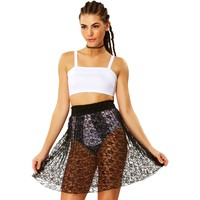 Sheer Genius Black Lace Skirt