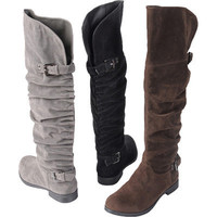 Brinley Co. Womens Buckle Detail Slouchy Boots|Meijer.com
