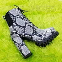 """CR Winnie Lace Up Ankle Boots 4.5""""  Chunky Block Heels 6 -11 Black Snake"""