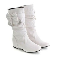 Casual PU Leather Boots With Bow and Sequins Design