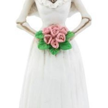 Bride Dressed in White Wedding Gown Pink Flowers Day of the Dead 6H