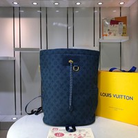 DCCK Gb29726 Lv Louis Vuitto Monogram Denim Bags All Collections Navy Blue Chalk Backpack 31*42*21cm