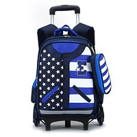 Hot sale Boys Trolley backpack Girls School Bag Classic Travel Luggage Suitcase On Wheels Kids Rolling Backpack detachable