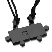 2 Piece Puzzle Necklace Set