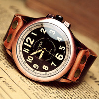 Man Watch Men's Leather Watch Vintage Retro Style