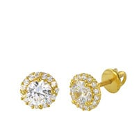 Sterling Silver Yellow Gold Screwback Earrings 7mm Super Bright White CZ Round