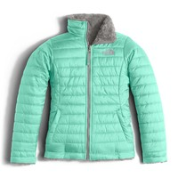 The North Face Reversible Mossbud Swirl Jacket for Girls in Ice Green NF00CN01-HCM