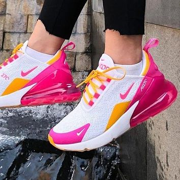 Samplefine2 Nike Air Max 270 Classic Women Casual Air Cushion Sport Running Shoes Sneakers White&Pink&Yellow