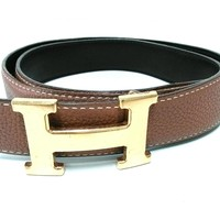 Auth HERMES Brown Gold Leather & Metallic Material Belt