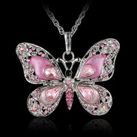 Fashion Butterfly Pendant Long Chain Necklace Collier Femme Jewelry Colourful Enamel Crystal Animal Necklaces for Women Bijoux
