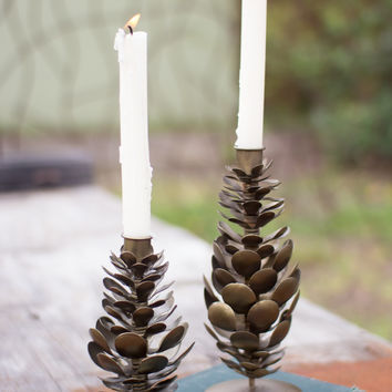 Set of 2 Metal Pine Cone Taper Candle Holders (No Small)