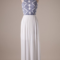 Blissful Maxi - Ivory and Navy
