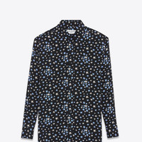 SAINT LAURENT OVERSIZED SHIRT IN BLACK, WHITE AND BLUE STAR PRINTED SILK CRÊPE | YSL.COM