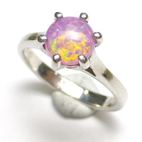 Opal Ring Size 7.75 Confetti Jelly Pink Synthetic Fire Orange Pinfire Round Stacking Jewelry Gift Engagement Handmade Lisajoy Sachs Design