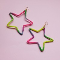 Neon Rainbow Star Hoop Earrings