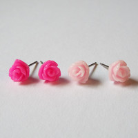 Set of Tiny Pink Rose Stud Earrings Stainless Steel Posts Small and Pretty Gift idea
