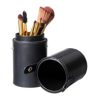 Portable 1Pc Travel Black Leather Empty Holder Makeup Brush Artist Bag Match Your Own Brushes Make Up Tool