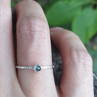 3mm Tiny Rose Cut London Blue Topaz Stacking Ring in Sterling Silver - Super Thin Micro Stacker with Smooth or Hammered Band