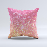 The Unfocused Pink and Gold Orbs ink-Fuzed Decorative Throw Pillow