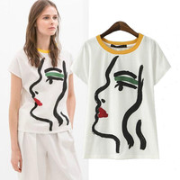 Characters Graffiti Print Short Sleeve Graphic Tee
