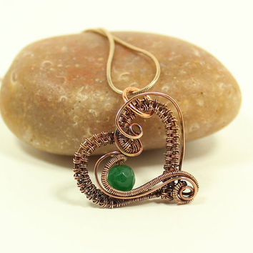 Green Jade Pendant, Copper Wire Necklace, Wire Wrapped Heart