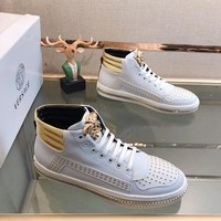 VERSACE 2019 new men's high quality beaded ribbon high-top shoes White