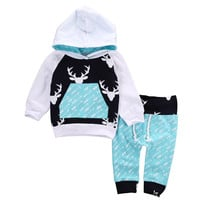 Christmas Kids Baby Girls Boys Reindeer Hooded Tops +Pants Outfits Set 2pcs suit baby boy clothes newborn