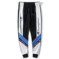 Champion autumn and winter models for men and women black and white string standard sports pants blue