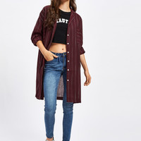 Striped Long Shirt With Chest PocketFor Women-romwe
