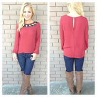 Burgundy Cut Me Out Blouse