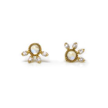 14kt Gold Rainbow Moonstone & Diamond Half Daisy Studs