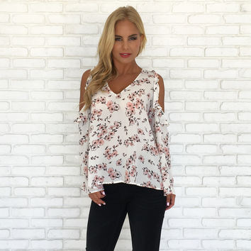 Sweet Surprise Floral Cold Shoulder Blouse