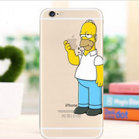 For iPhone 6s Case Ultrathin Hard Cover For iPhone 6s Snow White Homer Simpsons Hand Grasp Logo Transparent Clear Capa  Bargain