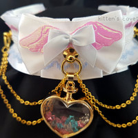 White Pastel Pink and Blue Lace Gold Chain Angel Wing Sparkly Iridescent Pleated Kitten/Pet Play DDLG BDSM Collar