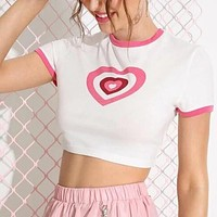 Heart Graphic Cropped Ringer Shirt Top Tee