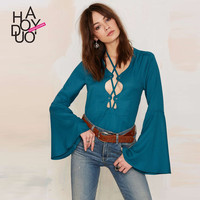Haoduoyi New 2016 Fashion Women Lady Blouse Casual Halter Neck Cut Out Bust Flare Sleeve Solid Shirt Tops Tee Tank