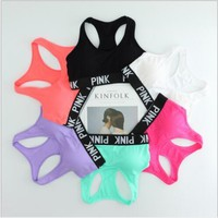 Pink Letter Bras Women Yoga Vest Sports Running Yoga Shirts For women VS Pink Brand Gym Fitness Bra Tops Sexy Underwears