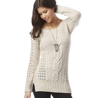 Solid Cable Sweater - Aeropostale