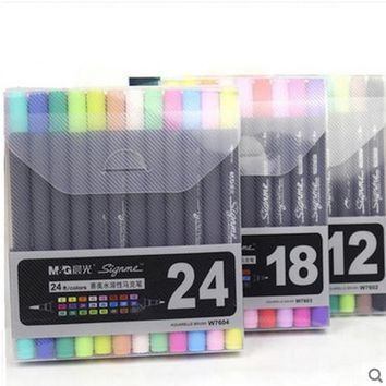 Art and Graphic Drawing Manga Water Based Ink Twin Tip Brush and Fine Tip Sketch Marker Pen 12 18 24 Colors SET Brush Pen