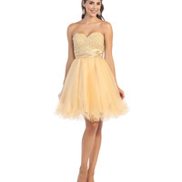 Nude Strapless Sweetheart Embroidered Short Dress 2015 Homecoming Dresses