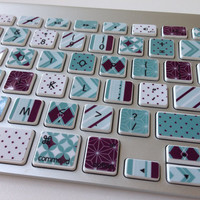 Cute Plum and Turquoise Designer Washi Tape-Inspired iMac, MacBook Pro, and MacBook Air Keyboard Protective Skin