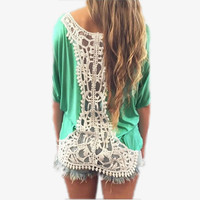 Sexy Casual Blouse Summer Style Women Sexy Backless Lace Crochet Short Sleeve Tops Loose Shirts Blusas Plus Size S-2XL