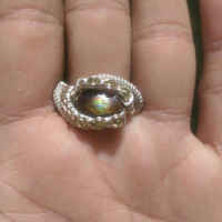 "SIZE 11 Multi Gemstone Gold Silver Wire Wrapped Ring ""Fire N Shine"""