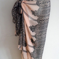 Pink Black Lace Women Pareo Dress Sarong Beach Bikini Swimwear Cover Up Long Scarf Shawl Wrap
