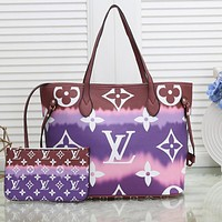 Bunchsun Louis Vuitton Rainbow Print LV Gradient Internal Stripe Shoulder Bag Shopping Bag purple