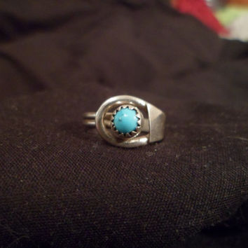 Authentic Navajo,Native American,Southwestern sterling silver loop or buckle ring.Size 5 1/2.Can be knuckle or pinky ring