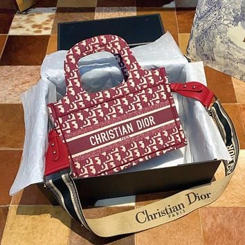 DIOR New Fashion Women Canvas Letter Jacquard Tote Bag Shoulder Bag