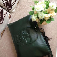 Skull Leather Pouch Clutch Strap Handbags